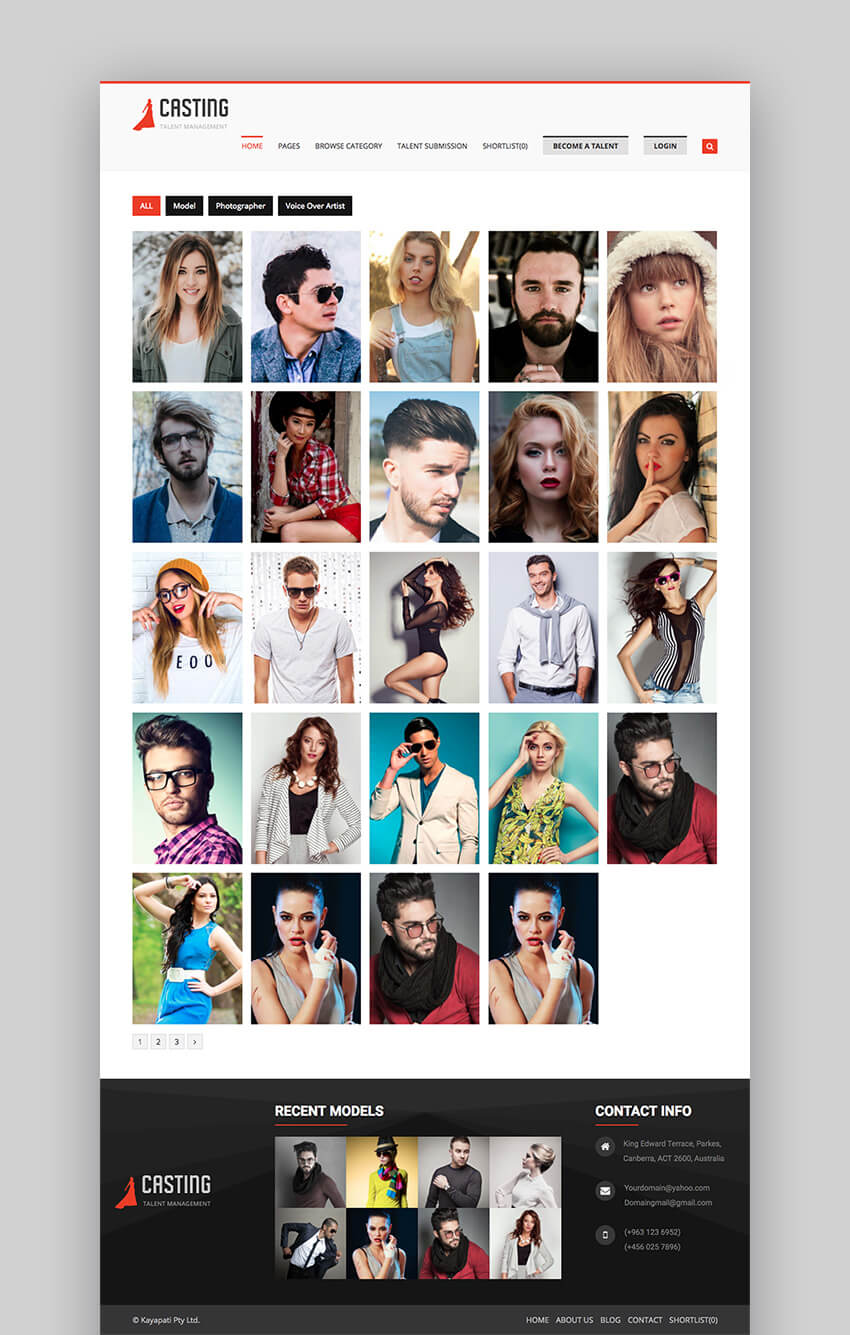 Casting fashion agency theme for WordPress