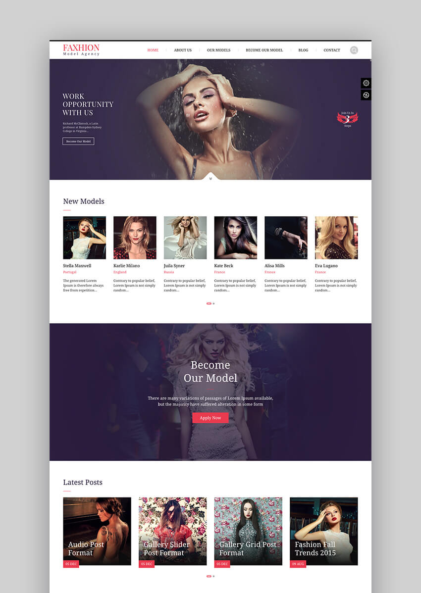 Faxhion WordPress theme for WordPress fashion websites