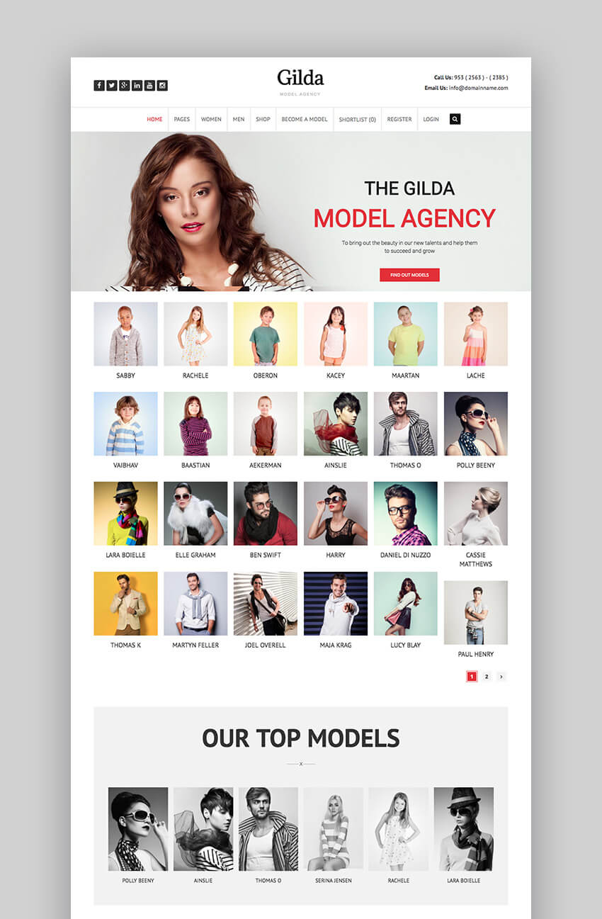 Gilda fashion agency theme for WordPress