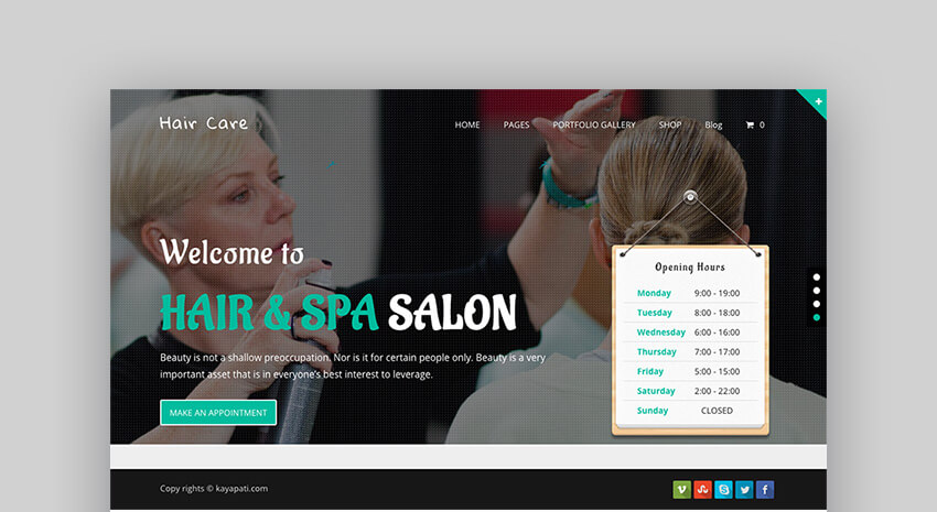 Hair Care multipurpose theme design for WordPress
