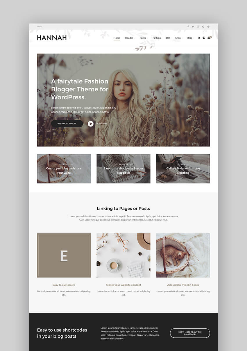 Hannah CD fashion blog magazine WordPress theme