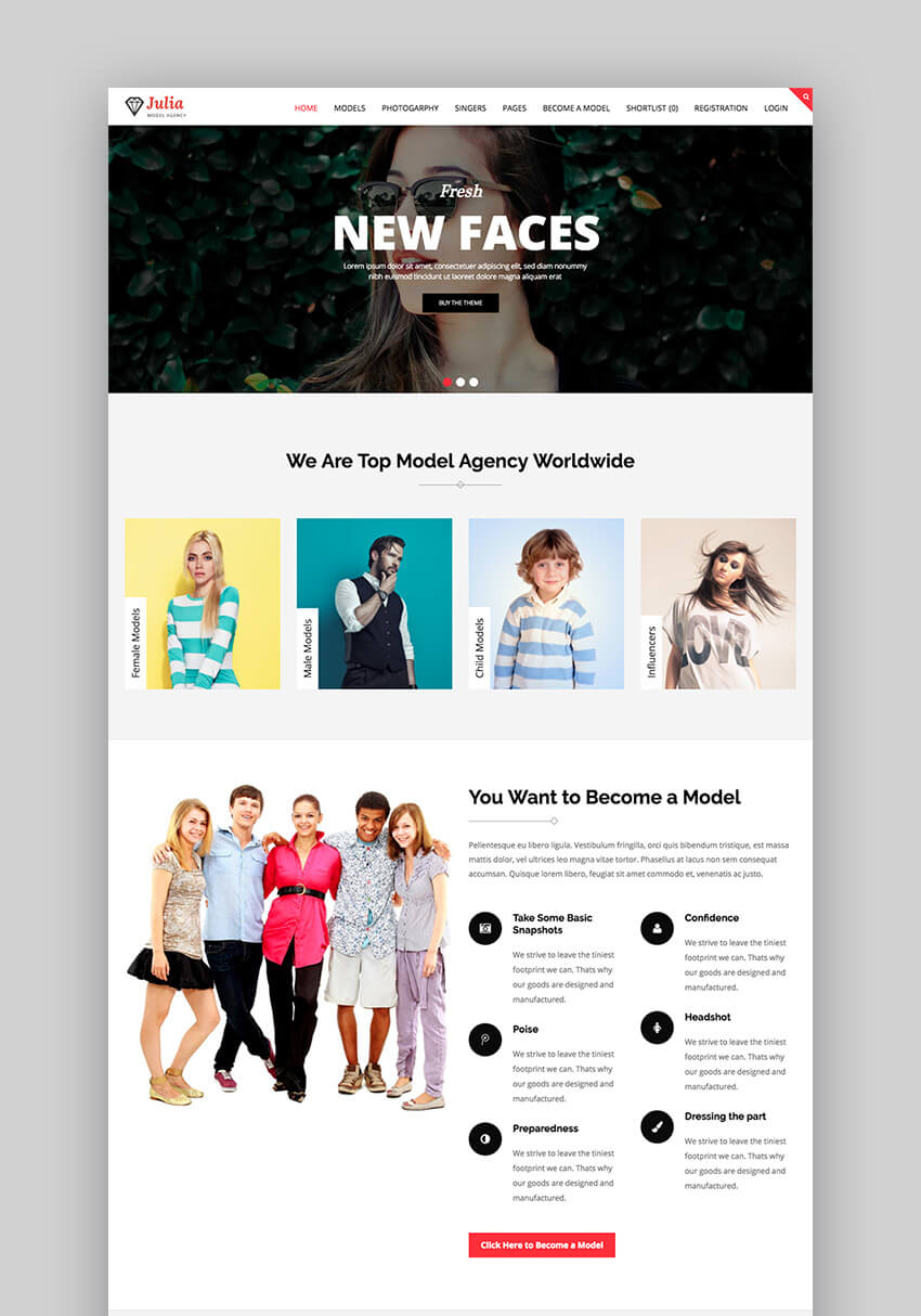 Julia talent management theme for WordPress fashion sites