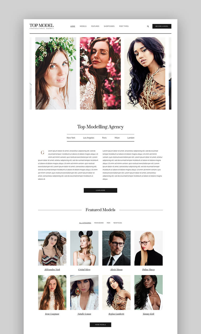 Top Model clean fashion WordPress theme