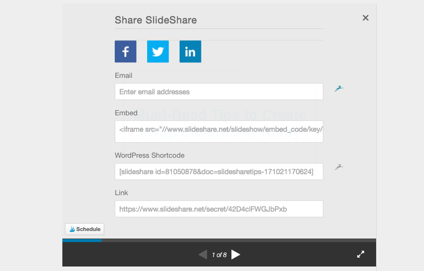 Slideshare Embed code in Share settings