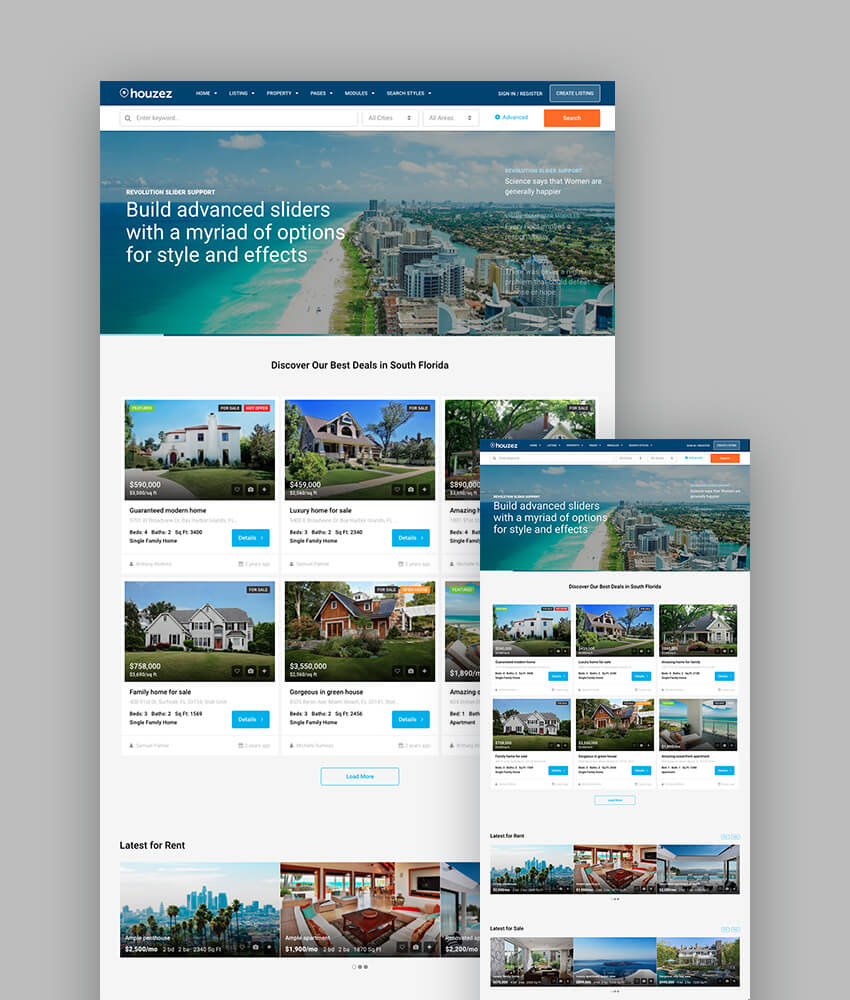 Houzez responsive theme for wordpress real estate websites