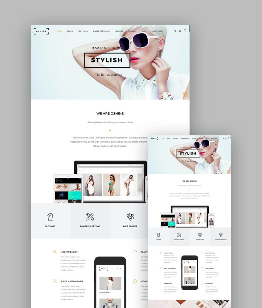 Oshine portfolio and agency responsive theme for WordPress