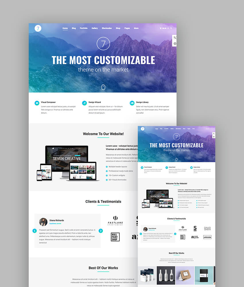 The7 responsive wordpress theme with customizable design
