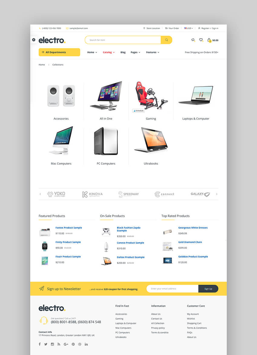 18 best shopify themes with responsive designs for 2018 20 electro electronics and gadgets shopify theme fandeluxe Choice Image
