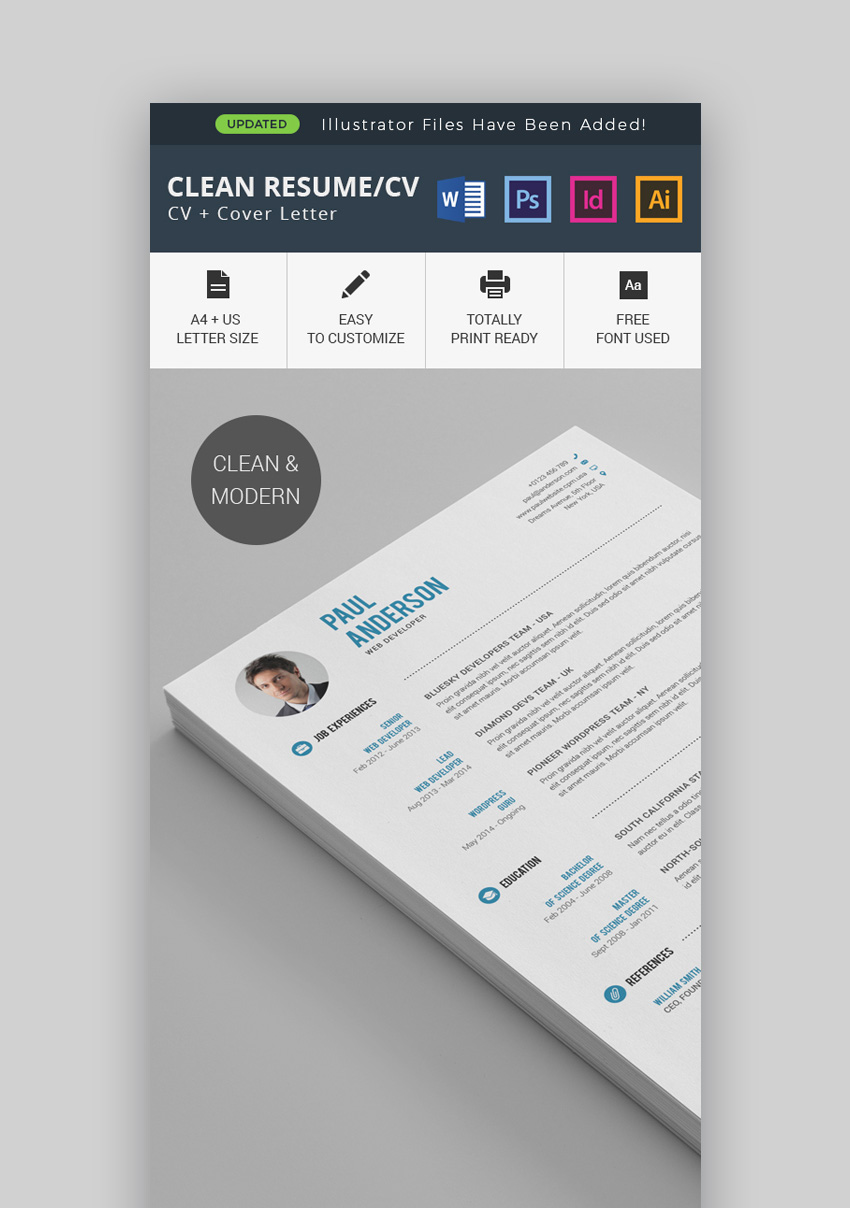 Clean Resume/CV Template  Resume Templates Modern