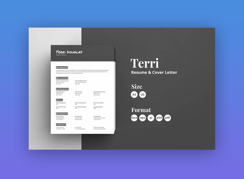 elegant black and white resume template