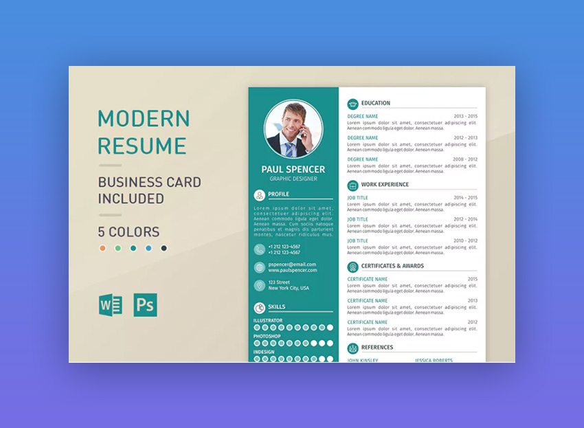 18 modern resume templates with clean elegant designs 2018 modern resume template altavistaventures Image collections