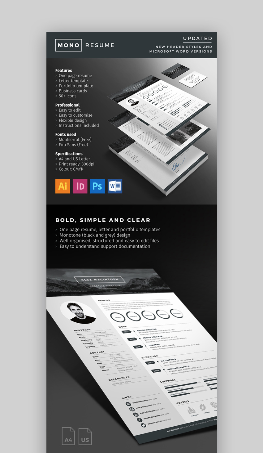 25 modern resume templates with clean  elegant  cv designs