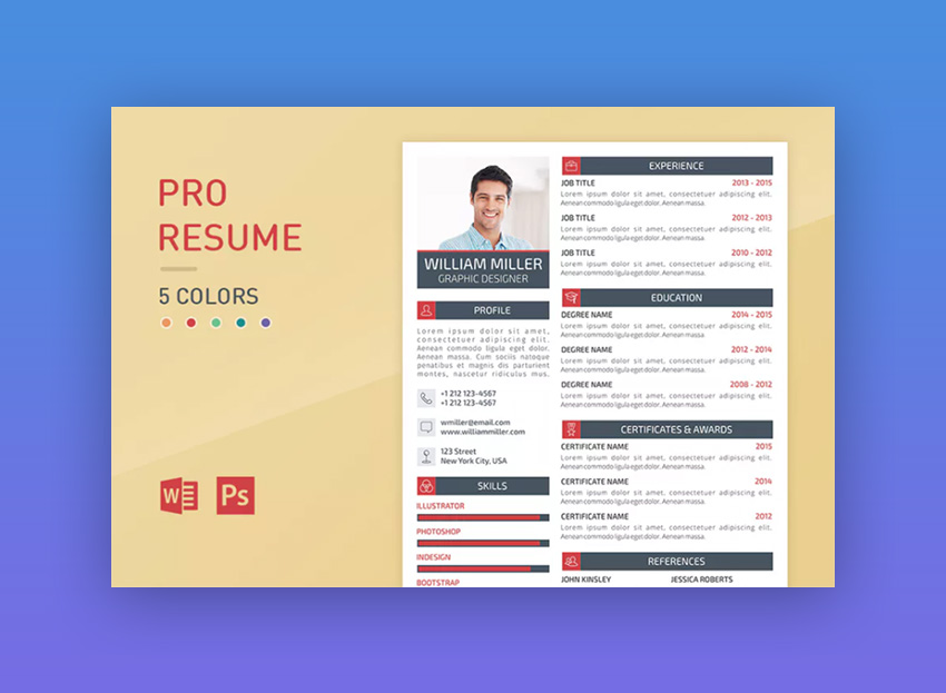 Pro Resume   Colorful Resume Template  Bootstrap Resume Template