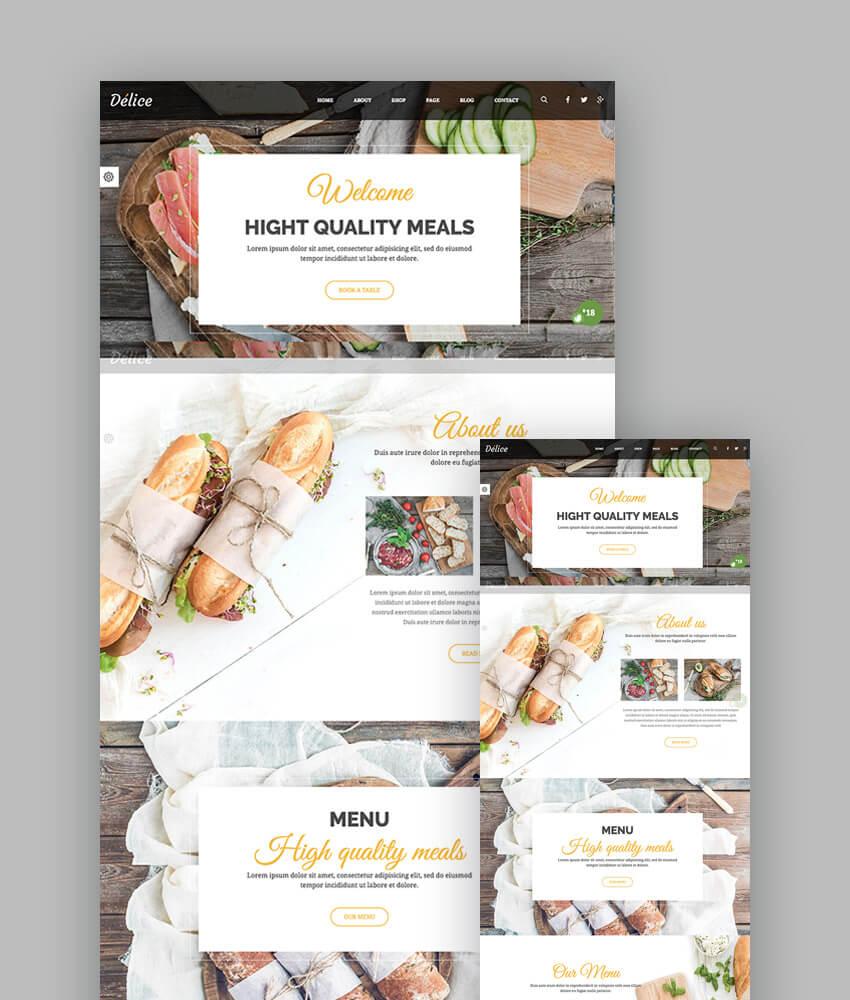 Delice moderna plantilla web para restaurante