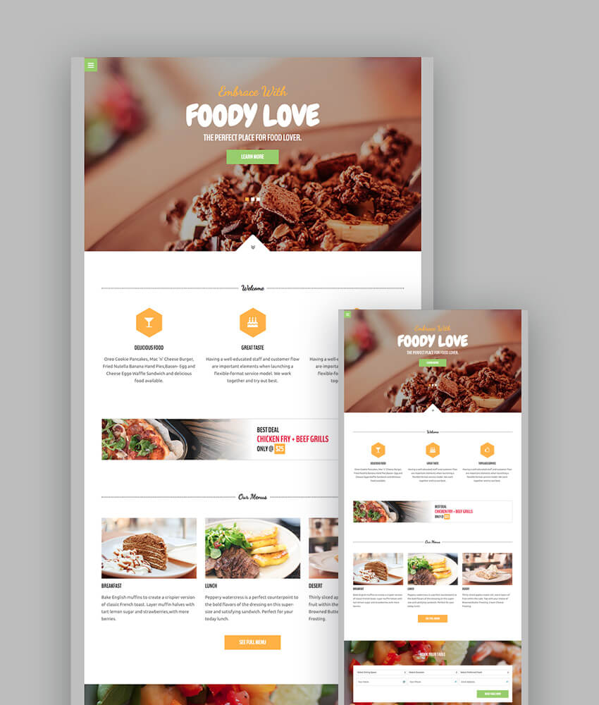 Food HTML Restaurant Template
