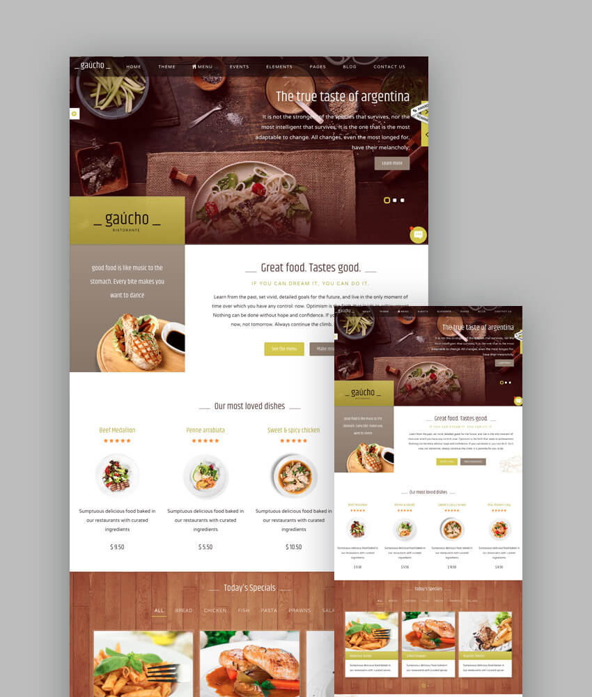 18 best responsive restaurant food website templates gaucho elegant html template for restaurants and cafes forumfinder Choice Image