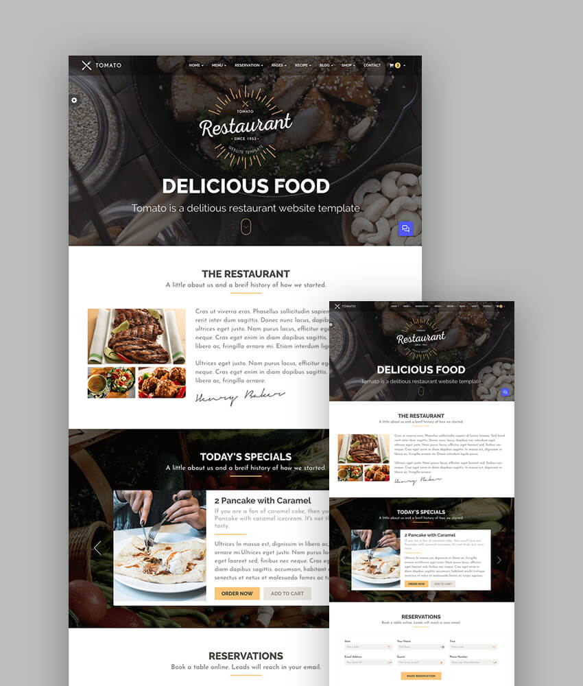 18+ Best Responsive Restaurant & Food Website Templates