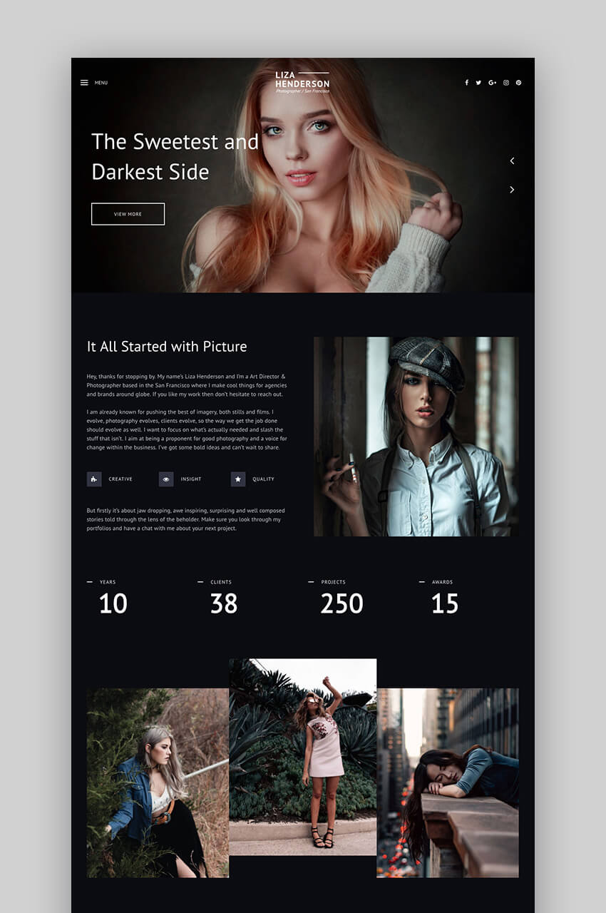 Liza WordPress Photography Themes