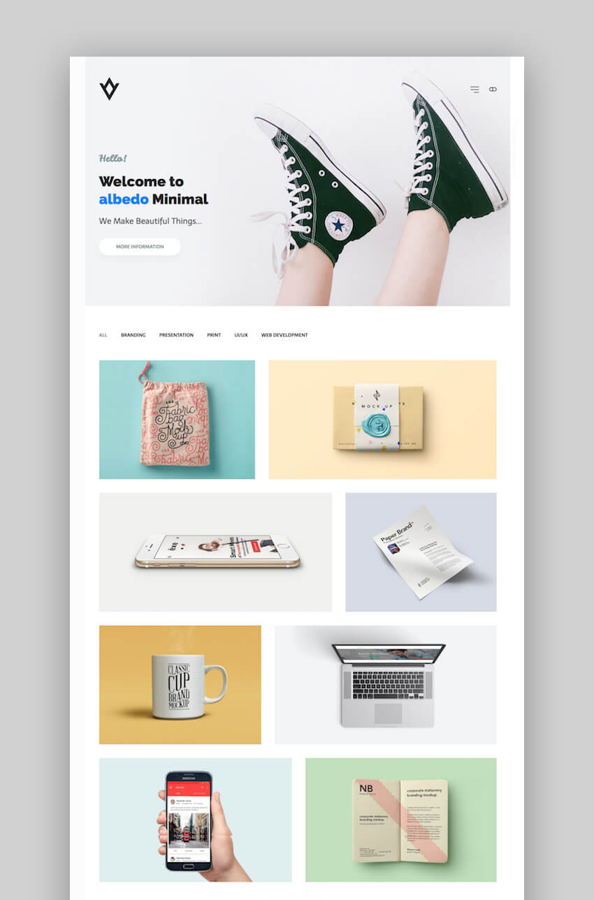 Albedo customizable portfolio personal WordPress theme