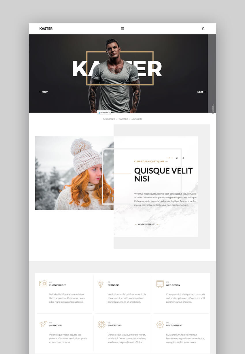 Kaster Portfolio WordPress theme