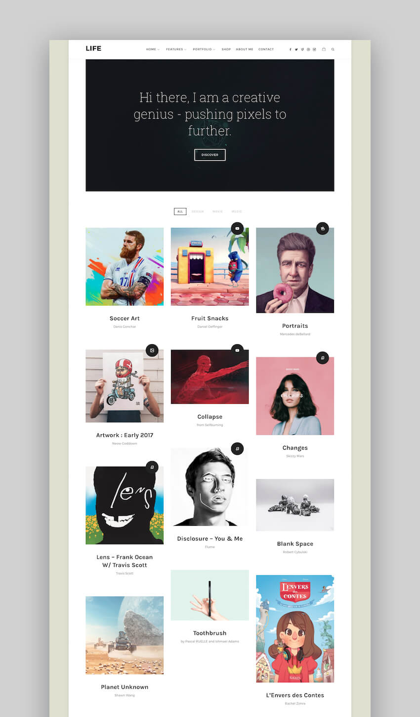 Life portfolio WordPress theme