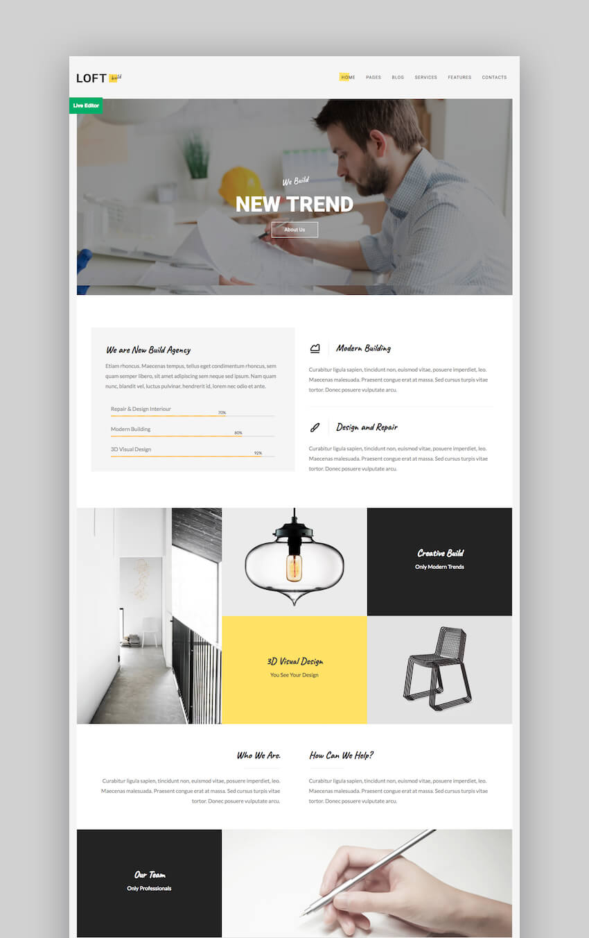 Loft WordPress theme portafolio personal