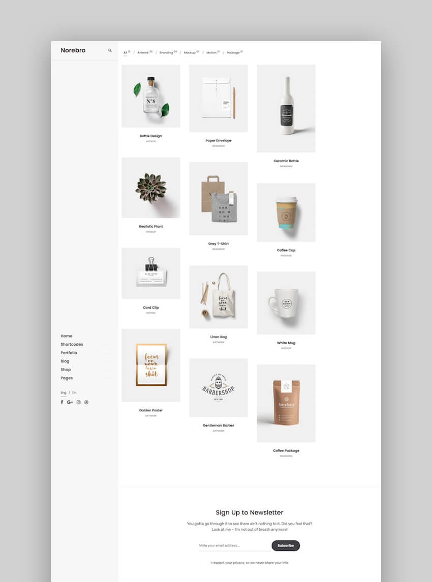 Norebro portfolio WordPress theme