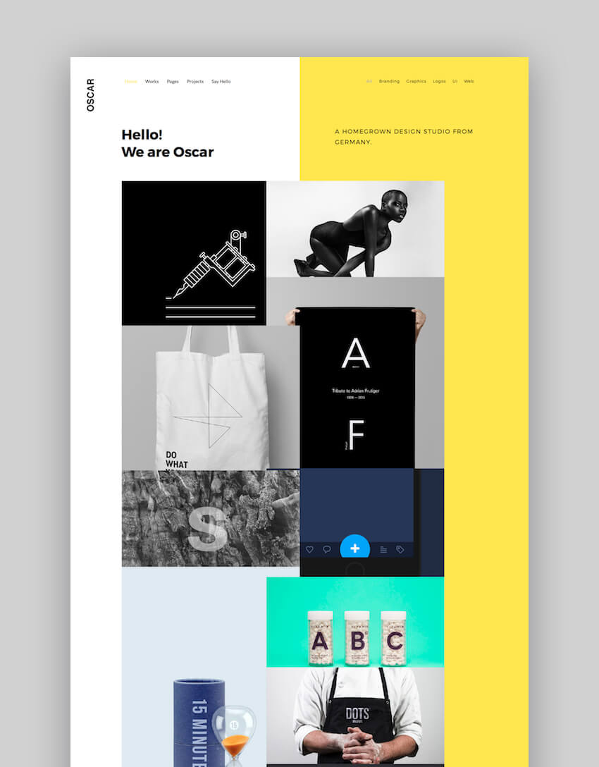 Oscar WordPress portfolio theme personal