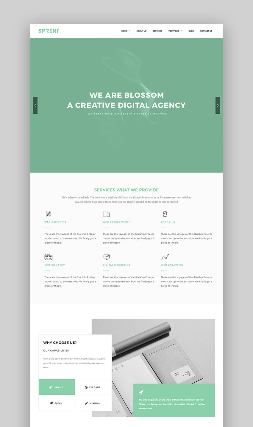 Sprint minimal WordPress theme