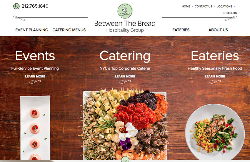 Between the Bread restaurant website