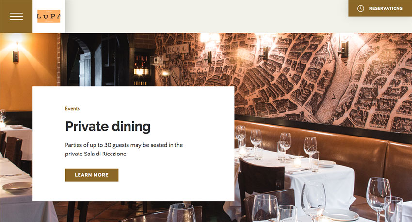 Lupa restaurant website