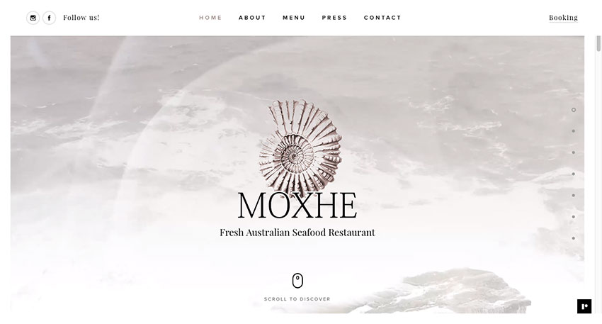 Moxhe restaurant website