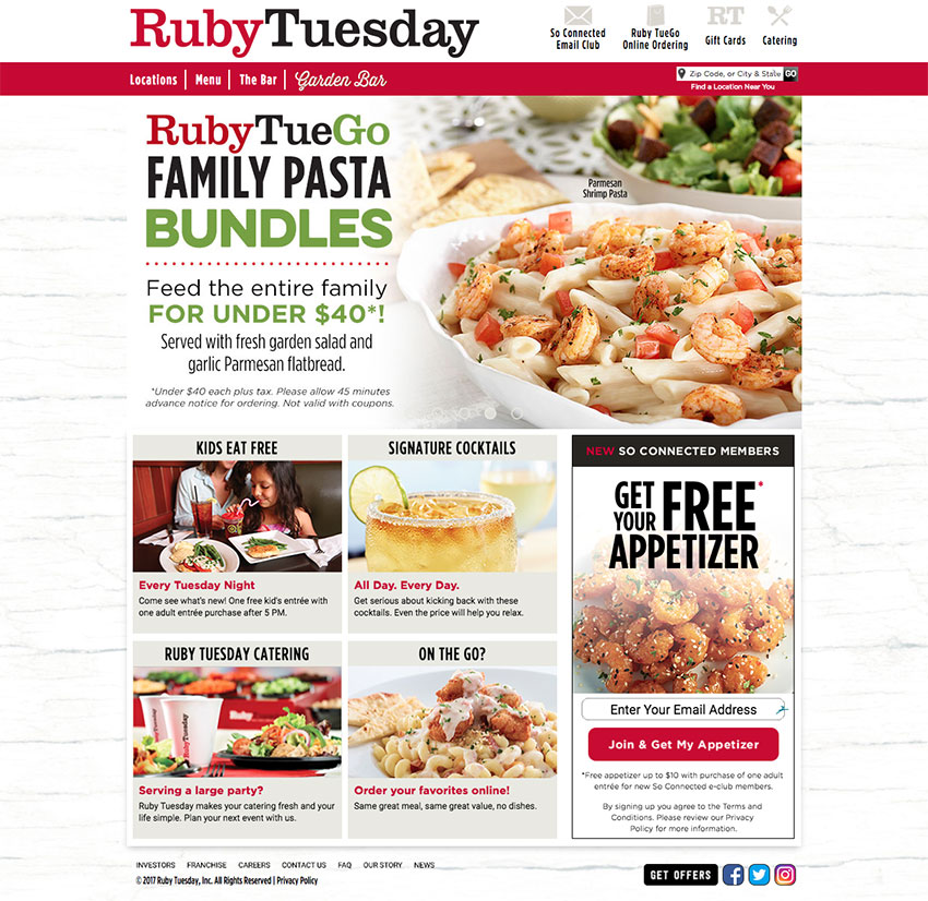 RubyTuesday restaurant website
