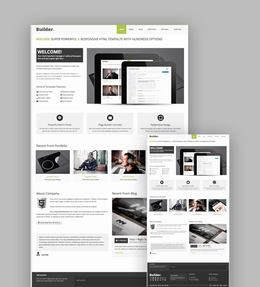 20 best responsive html5 website design business templates builder clean responsive html5 template fbccfo Image collections