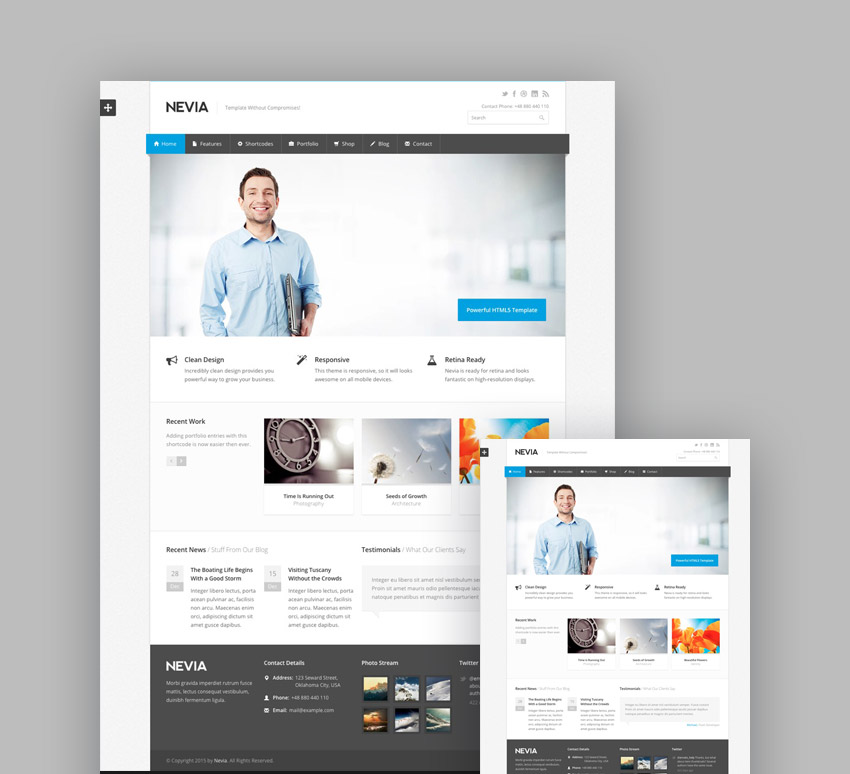 20 best responsive html5 website design business templates nevia professional responsive template for business and portfolio sites cheaphphosting Images