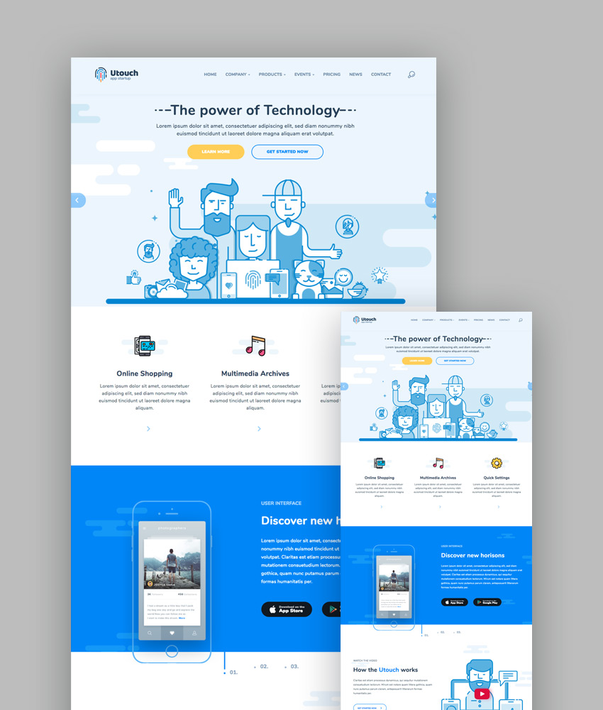 20 best responsive html5 website design business templates utouch material html5 template with responsive design flashek Image collections