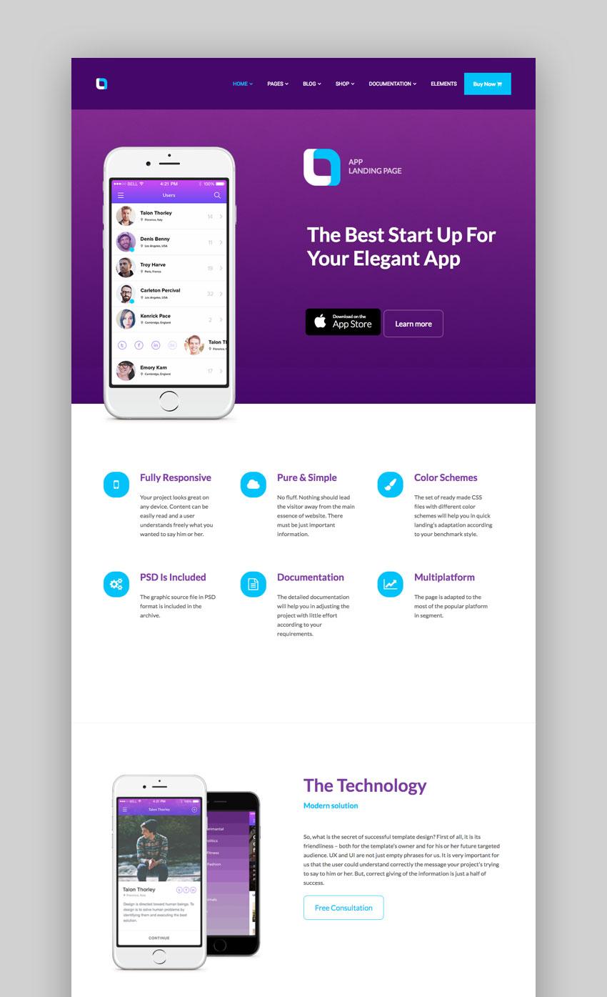 Ola App Landing Page theme