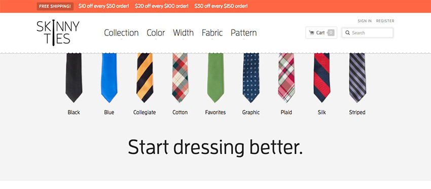 Skinny Ties Responsive Design Example