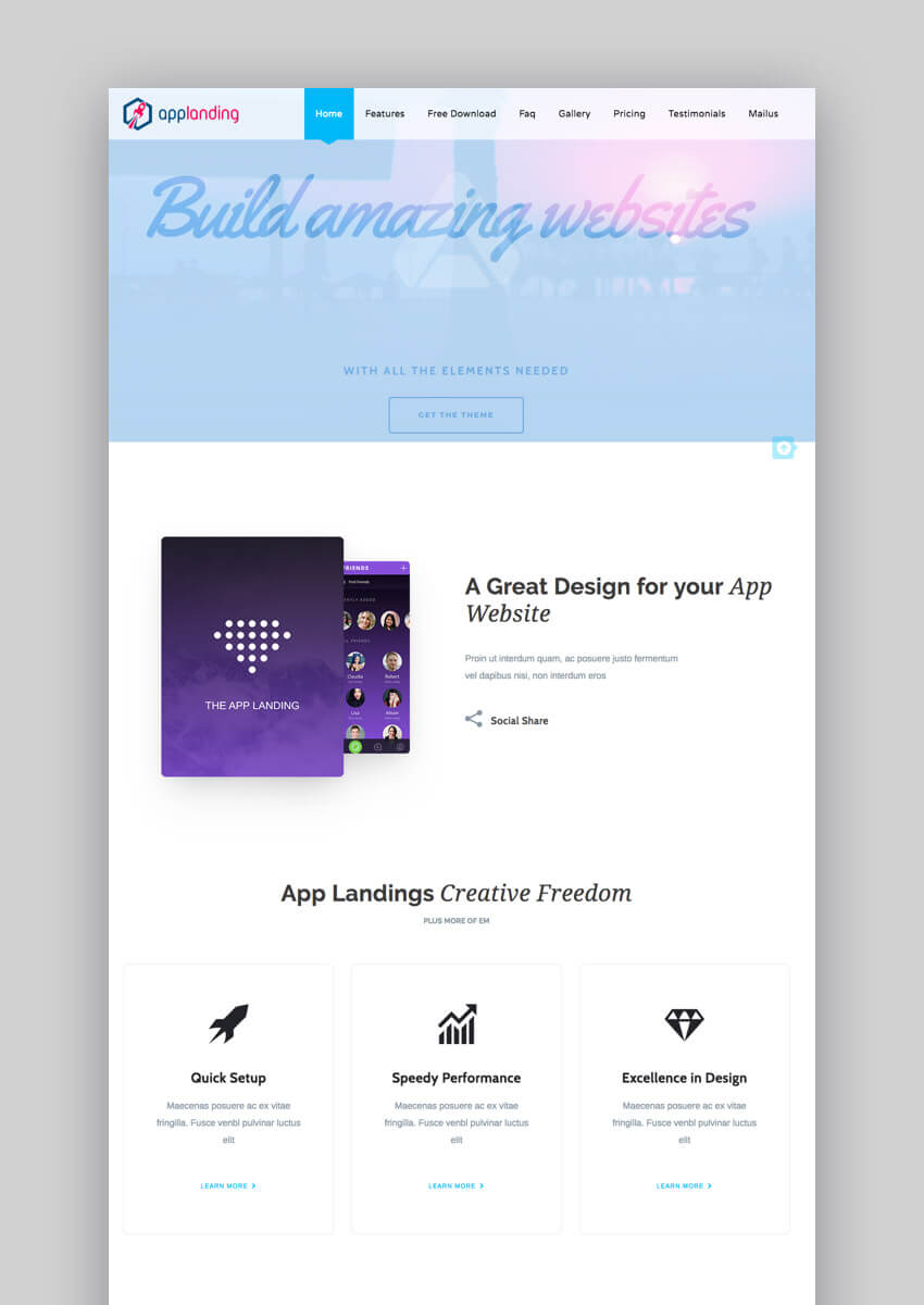 App Promotion one-page WordPress theme