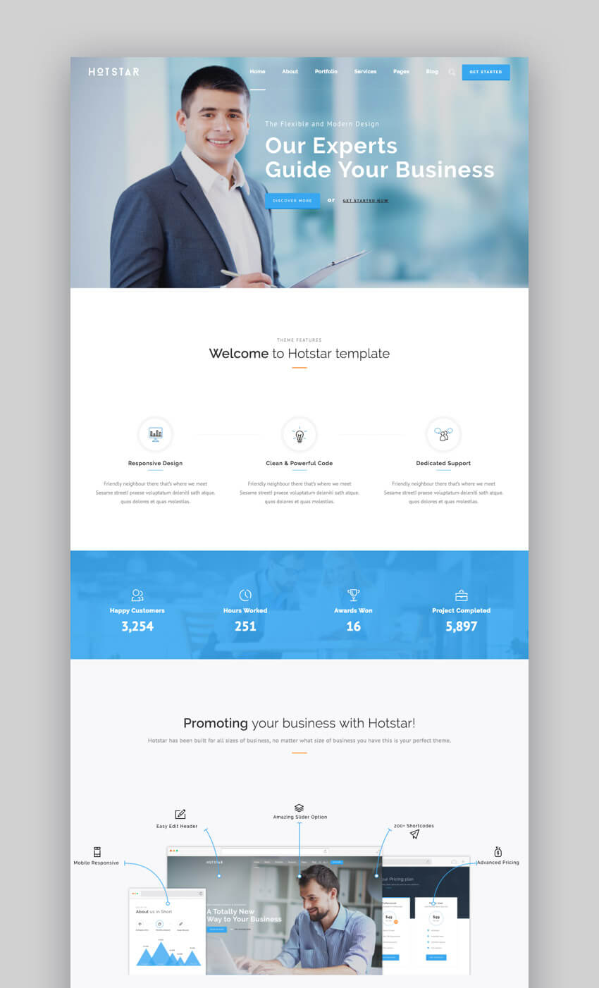 Hotstar WordPress tema di piccole imprese