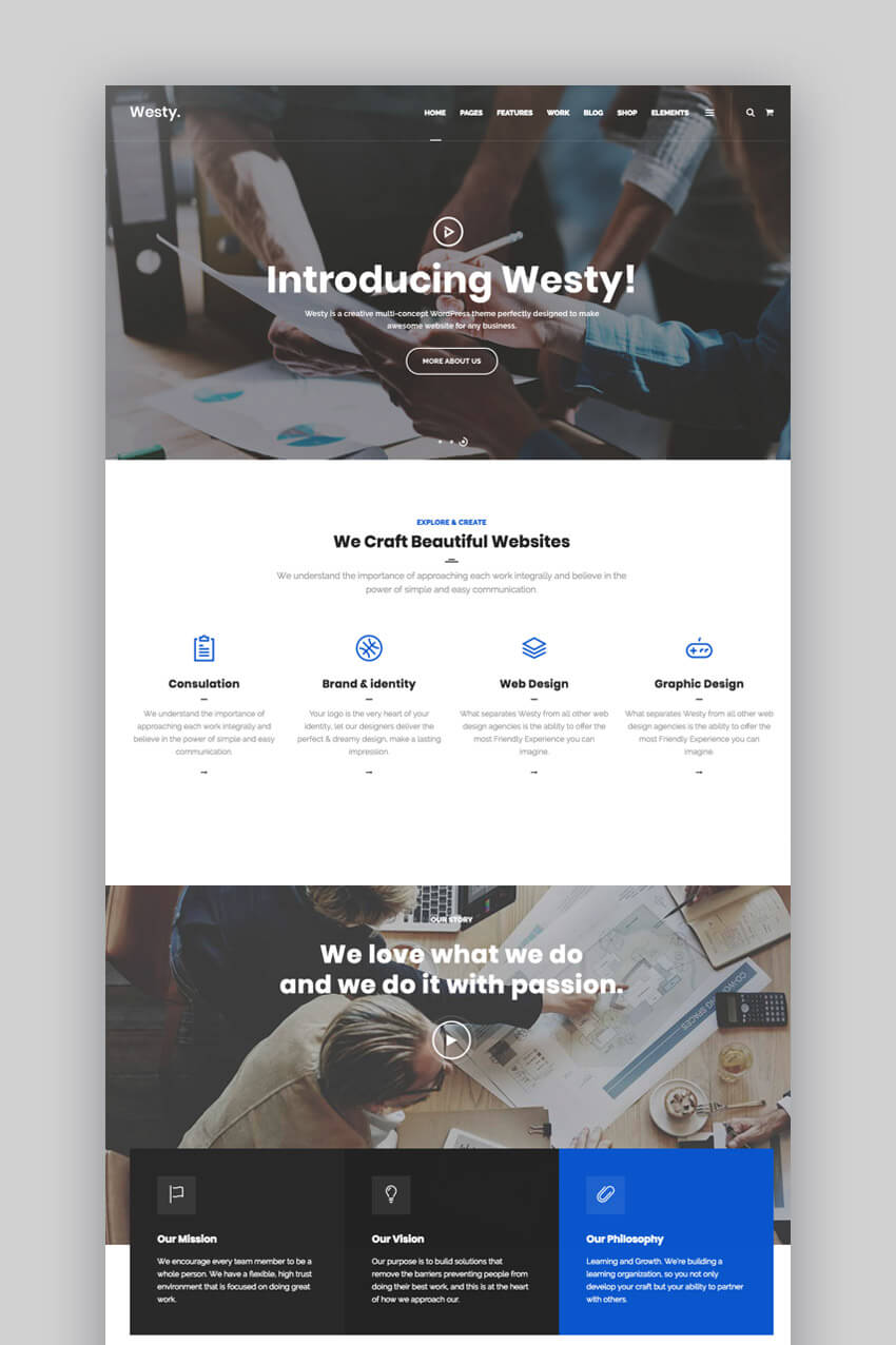 Tema WordPress per le piccole imprese di Westy