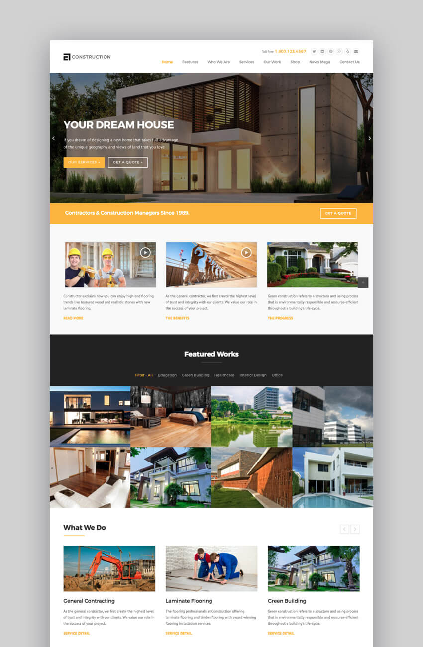 WP Construction, moderno tema WordPress para la construcción