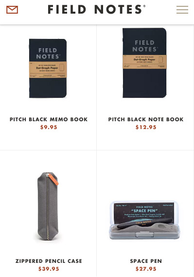 Field Notes mobile site