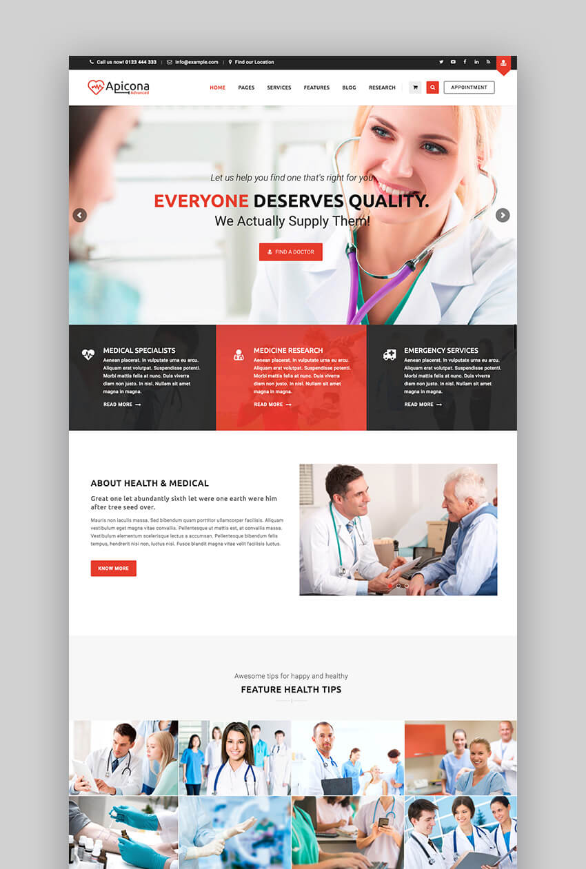 Apicona medical WordPress theme