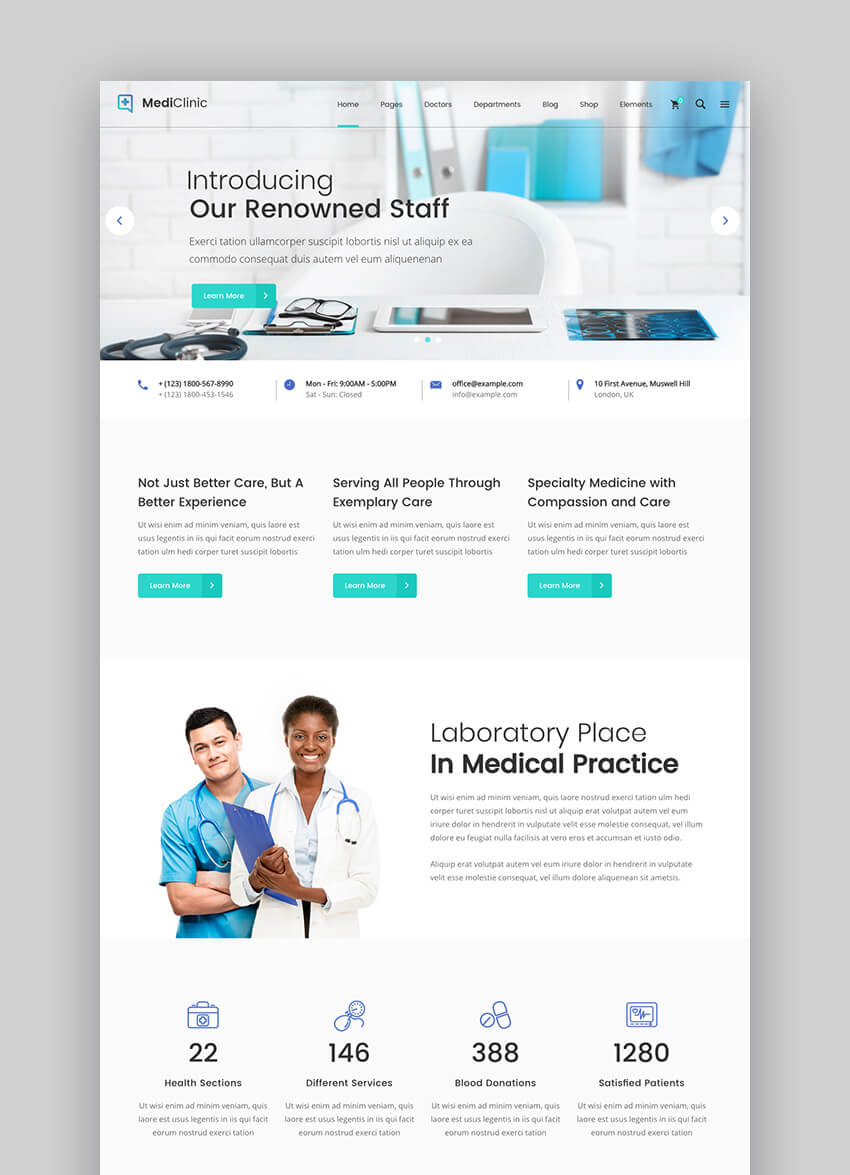 MediClinic doctor WordPress Theme