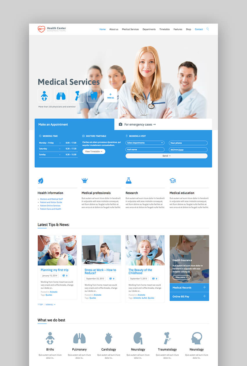 Healthcare - Medical for Doctor Dentist WordPress theme