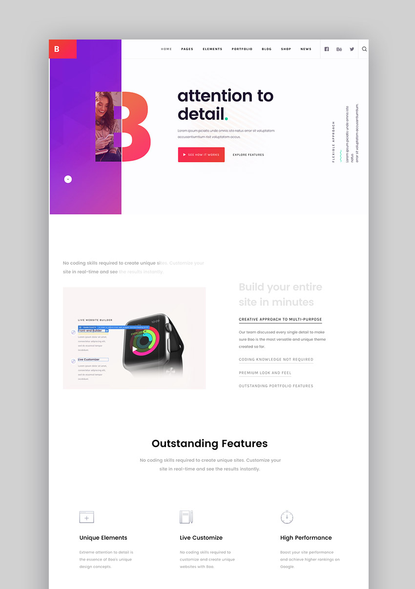 Boo creative WordPress theme