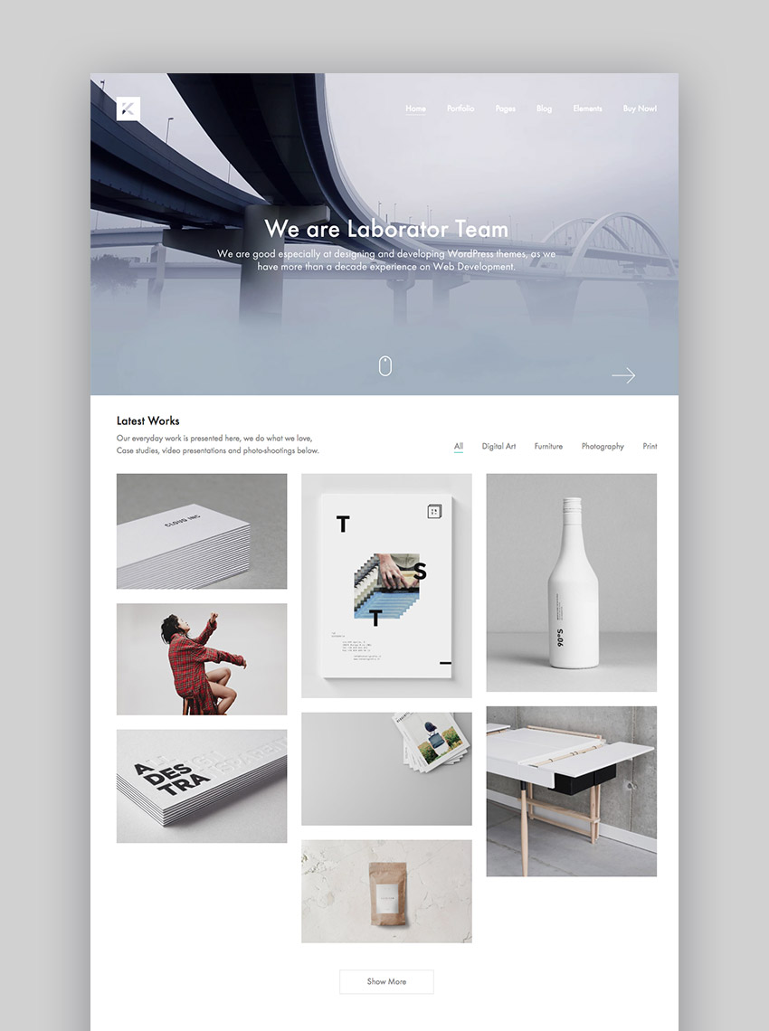Kalium creative WordPress theme