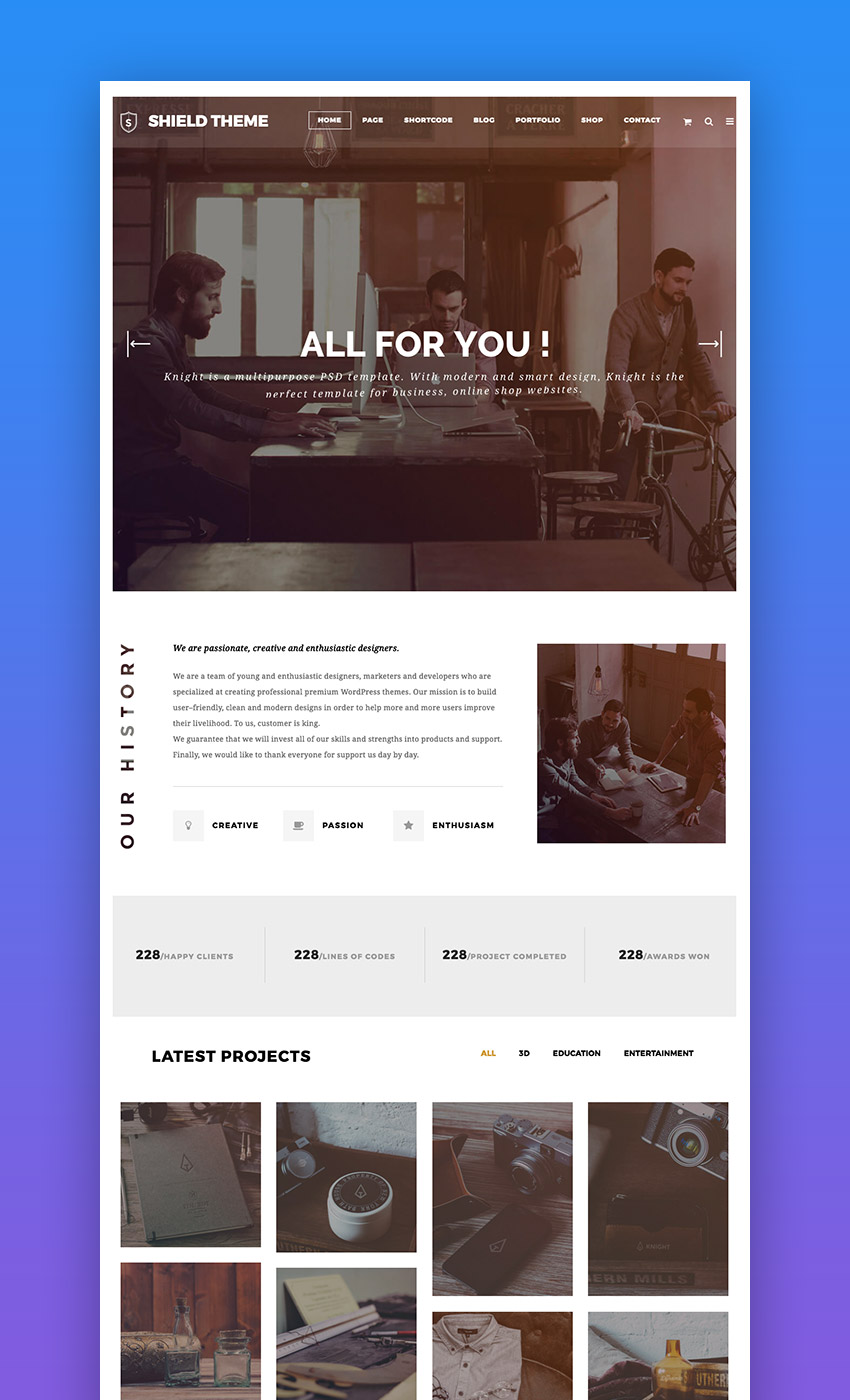 Shield modern creative WordPress theme