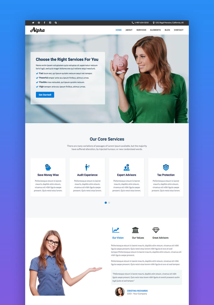 Alpha responsive HTML website template